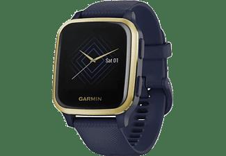 GARMIN Smartwatch Venu Sq Music, Dunkelblau/Weißgold (010-02426-12)