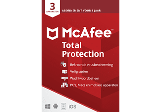 McAfee Total Protection voor 3 apparaten (1 Jaar)
