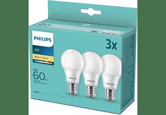 PHILIPS 3er Pack LED Lampe E27 Warmweiß 8 Watt 806 Lumen