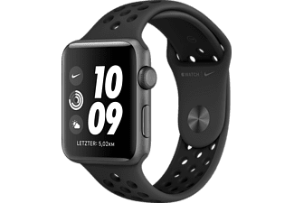 APPLE Watch Nike+ Series 3 42mm Smartwatch Aluminium Kunststoff, 140-210 mm, Space Grau mit Sportarmband Anthrazit