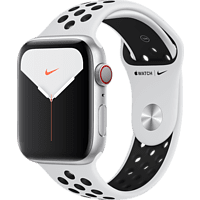 APPLE Watch Nike Series 5 (GPS + Cellular) 44mm Smartwatch Aluminium Fluorelastomer, 140 - 200 mm , Armband: Pure  Platinum Schwarz, Gehäuse: Silber
