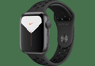 APPLE Watch Nike Series 5 44mm Smartwatch Aluminium Fluorelastomer, 140 - 200 mm , Armband: Anthrazit  Schwarz, Gehäuse: Space Grey