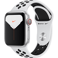 APPLE Watch Nike Series 5 (GPS + Cellular) 40mm Smartwatch Aluminium Fluorelastomer, 130 - 200 mm, Armband: Pure  Platinum Schwarz, Gehäuse: Silber