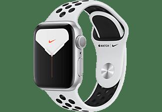 APPLE Watch Nike Series 5 40mm Smartwatch Aluminium Fluorelastomer, 130 - 200 mm, Armband: Pure  Platinum Schwarz, Gehäuse: Silber