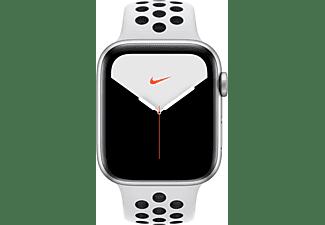 APPLE Watch Nike Series 5 44mm Smartwatch Aluminium Fluorelastomer, 140 - 200 mm , Armband: Pure  Platinum Schwarz, Gehäuse: Silber