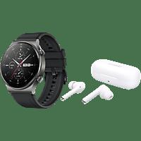 HUAWEI WATCH GT 2 Pro Sport night black + True Wireless Kopfhörer Freebuds 3i, weiß
