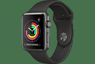 APPLE Watch Series 3 42 mm Smartwatch Aluminium Kunststoff, 140-210 mm, Armband: Schwarz / Gehäuse: Dunkelgrau