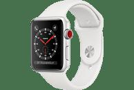 APPLE Watch Series 3 (GPS + Cellular) 42 mm Smartwatch Aluminium Kunststoff, 140-210 mm, Armband: Weiß / Gehäuse: Silber