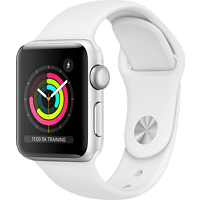 APPLE Watch Series 3 (GPS), 38 mm Aluminiumgehäuse Silber, Sportarmband Weiß Smartwatch Aluminium Kunststoff, 140-210 mm, Silber/Weiß