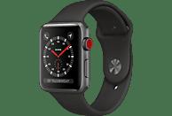 APPLE Watch Series 3 (GPS + Cellular) 42 mm Smartwatch Aluminium Kunststoff, 140-210 mm, Armband: Schwarz / Gehäuse: Dunkelgrau