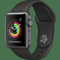 APPLE Watch Series 3 (GPS), 38 mm Aluminiumgehäuse Space Grau, Sportarmband Schwarz Smartwatch Aluminium Kunststoff, 140-210 mm, Schwarz/Space Grau