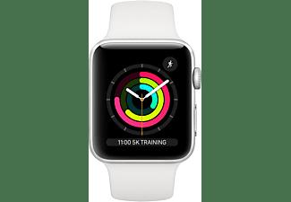 APPLE Watch Series 3 42 mm Smartwatch Aluminium Kunststoff, 140-210 mm, Armband: Weiß / Gehäuse: Silber