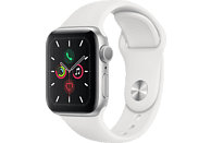 APPLE Watch Series 5 40mm Smartwatch Aluminium Fluorelastomer, 130 - 200 mm, Armband: Weiß, Gehäuse: Silber