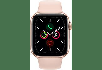 APPLE Watch Series 5 44mm Smartwatch Aluminium Fluorelastomer, 140 - 200 mm , Armband: Sandrosa, Gehäuse: Gold