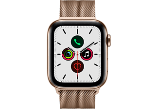 APPLE Watch Series 5 (GPS + Cellular) 44mm Smartwatch Edelstahl Edelstahl, 140 - 200 mm , Armband: Gold Milanaise, Gehäuse: Edelstahl Gold