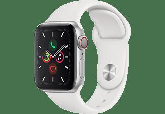 APPLE Watch Series 5 (GPS + Cellular) 40mm Smartwatch Aluminium Fluorelastomer, 130 - 200 mm, Armband: Weiß, Gehäuse: Silber
