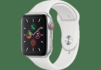 APPLE Watch Series 5 (GPS + Cellular) 44mm Smartwatch Aluminium Fluorelastomer, 140 - 200 mm , Armband: Weiß, Gehäuse: Silber