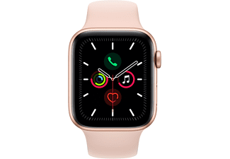 APPLE Watch Series 5 (GPS + Cellular) 44mm Smartwatch Aluminium Fluorelastomer, 140 - 200 mm , Armband: Sandrosa, Gehäuse: Gold