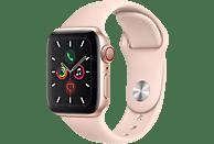 APPLE Watch Series 5 (GPS + Cellular) 40mm Smartwatch Aluminium Fluorelastomer, 130 - 200 mm, Armband: Sandrosa, Gehäuse: Gold