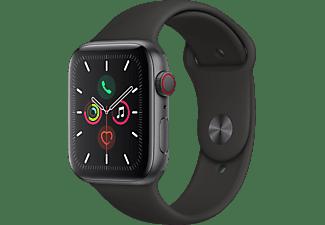 APPLE Watch Series 5 (GPS + Cellular) 44mm Smartwatch Aluminium Fluorelastomer, 140 - 200 mm , Armband: Schwarz, Gehäuse: Space Grey