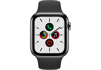APPLE Watch Series 5 (GPS + Cellular) 44mm Smartwatch Edelstahl Fluorelastomer, 140 - 200 mm , Armband: Schwarz, Gehäuse: Edelstahl Schwarz