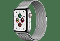 APPLE Watch Series 5 (GPS + Cellular) 44mm Smartwatch Edelstahl Edelstahl, 140 - 200 mm , Armband: Silber Milanaise, Gehäuse: Edelstahl