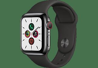 APPLE Watch Series 5 (GPS + Cellular) 40mm Smartwatch Edelstahl Fluorelastomer, 130 - 200 mm, Armband: Schwarz, Gehäuse: Edelstahl Schwarz