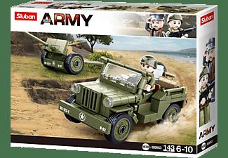 SLUBAN WWII - All. Jeep mit Feldhaubitze Klemmbausteine, Mehrfarbig