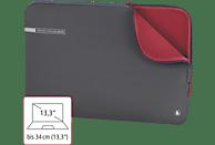 HAMA Neoprene 14.1 Zoll Notebook-Sleeve für Universal Neopren, Grau/Rot