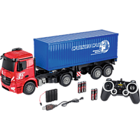CARSON 1:20 MB Arocs m.Container 2.4G 100% RTR Spielzeugmodell, Rot/Blau