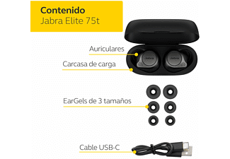 Auriculares inalámbricos - Jabra Elite 75t, Bluetooth, Autonomía 28 horas, Gris Titanio y Negro