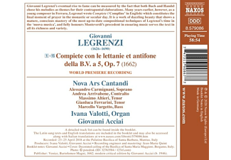 Valotti,Ivana/Acciai,Giovanni/Nova Ars Cantandi - COMPIETE, OP. 7 - PRAYERS AT THE END OF THE DAY  - (CD)
