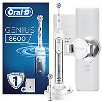 Cepillo Eléctrico - Oral-B Genius 8600, Cepillado 3D, Bluetooth, Blanco y plata