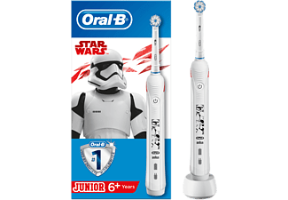 Cepillo eléctrico - Oral-B Junior, Con Tecnología De Braun, Edición Star Wars, Recargable, Blanco