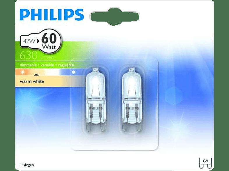 PHILIPS 20424400 G9 CL ECOHALO MV CAPS Halogen Leuchtmittel Warmweiß 42 Watt 630 Lumen