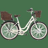 FISCHER ER 1804 Citybike (Laufradgröße: 28 Zoll, Rahmenhöhe: 48 cm, Unisex-Rad, 317 Wh, Elfenbein glänzend)