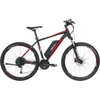 FISCHER EM 1726 Mountainbike (Laufradgröße: 27,5 Zoll, Rahmenhöhe: 48 cm, Unisex-Rad, 422 Wh, Signalschwarz matt / rot)