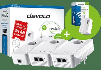 DEVOLO Magic 2 WiFi next Multiroom Kit + Wifi Repeater ac Powerline Adapter 2400 Mbit/s Kabellos und Kabelgebunden