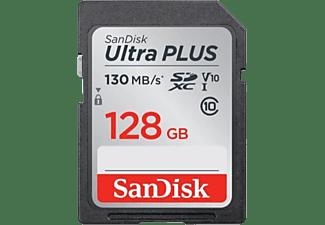 Tarjeta SDXC - SanDisk Ultra Plus, 128 GB, 130 MB/s, UHS-I, V10, Clase 10, Multicolor