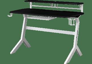 LC-POWER LC-GD-1W Gaming Tisch, Schwarz/Weiß