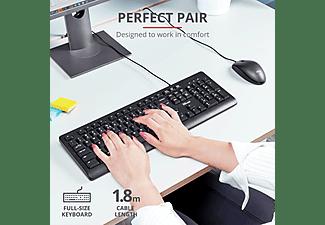 Pack Teclado + Ratón - Trust Primo 23972, Cable, 2 puertos USB, Negro