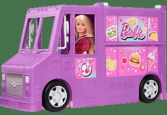 BARBIE Food-Truck Spielset aufklappbar, über 30 Teile Puppen-Zubehör Spielset Mehrfarbig