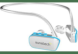 Reproductor MP3 - Sunstech Argos, 8GB, 10h Autonomía, Waterproof, USB, Blanco y azul