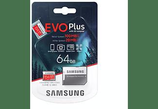 Tarjeta MicroSD 64 GB - Samsung EVO Plus 64 GB, 100MB/s lectura, 20 MB/s escritura, Clase 10, Rojo