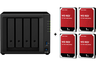 SYNOLOGY DiskStation DS920+ con 4x 1TB WD Red NAS (HDD) - Server NAS (HDD, 4 TB, Nero)
