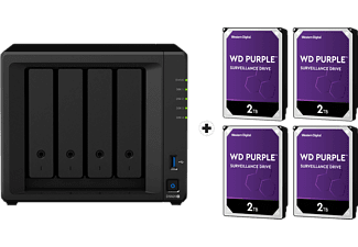SYNOLOGY DiskStation DS920+ con 4x 2TB WD Purple Surveillance (HDD) - Server NAS (HDD, 8 TB, Nero)
