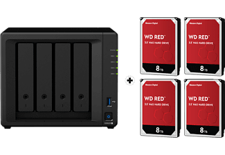 SYNOLOGY DiskStation DS920+ mit 4x 8TB WD Red NAS (HDD) - NAS (HDD, 32 TB, Schwarz)
