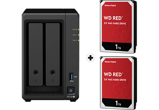 SYNOLOGY DiskStation DS720+ con 2x 1TB WD Red NAS (HDD) - Server NAS (HDD, SSD, 2 TB, Nero)