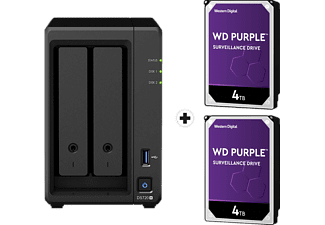 SYNOLOGY DiskStation DS720+ con 2x 4TB WD Purple Surveillance (HDD) - Server NAS (HDD, SSD, 8 TB, Nero)