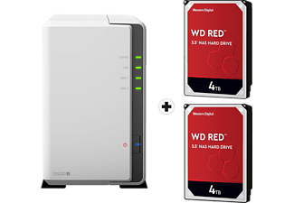 SYNOLOGY DiskStation DS220j mit 2x 4TB WD Red NAS (HDD) - NAS (HDD, 8 TB, Weiss)